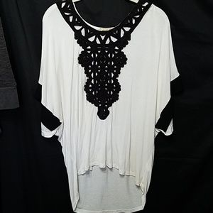White and black dolman top